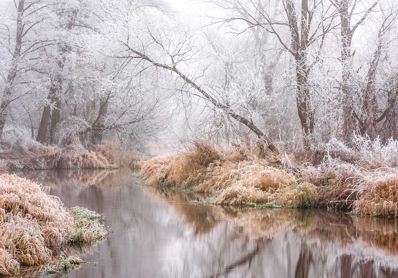 Fotoenter art fotografia przymrozek nad rzeką